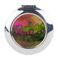 the_woods_ii_magenta_round_compact_mirror