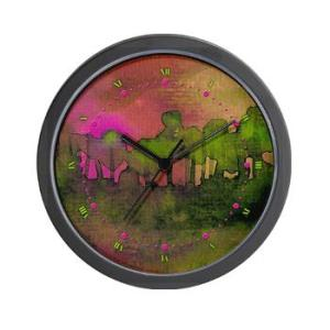 the_woods_ii_magenta_wall_clock