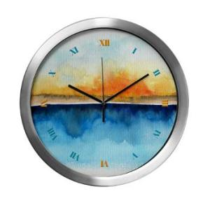 orange_rays_permeate_modern_wall_clock