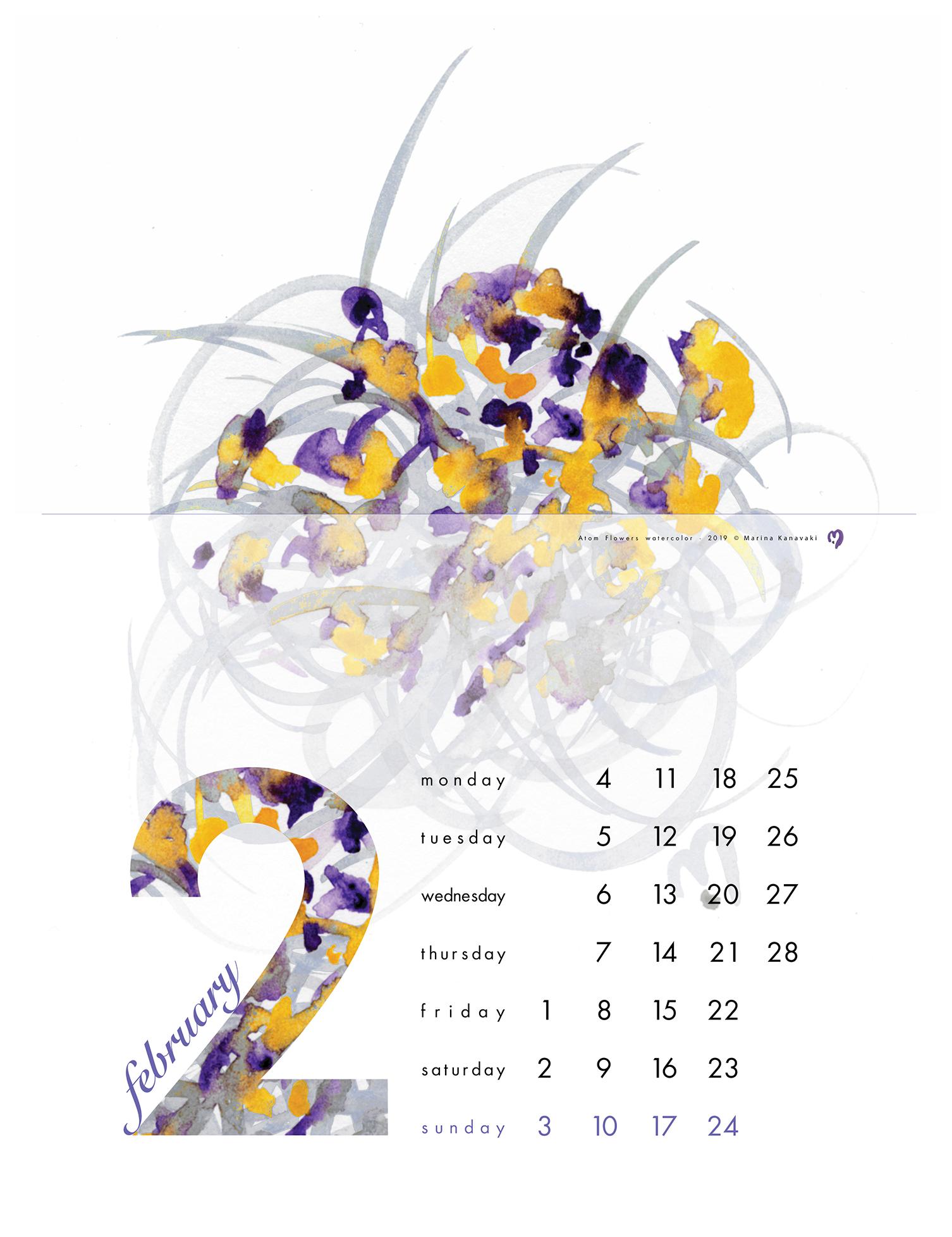 February 2019 - calendar - original artwork and watercolor painting by Marina Kanavaki