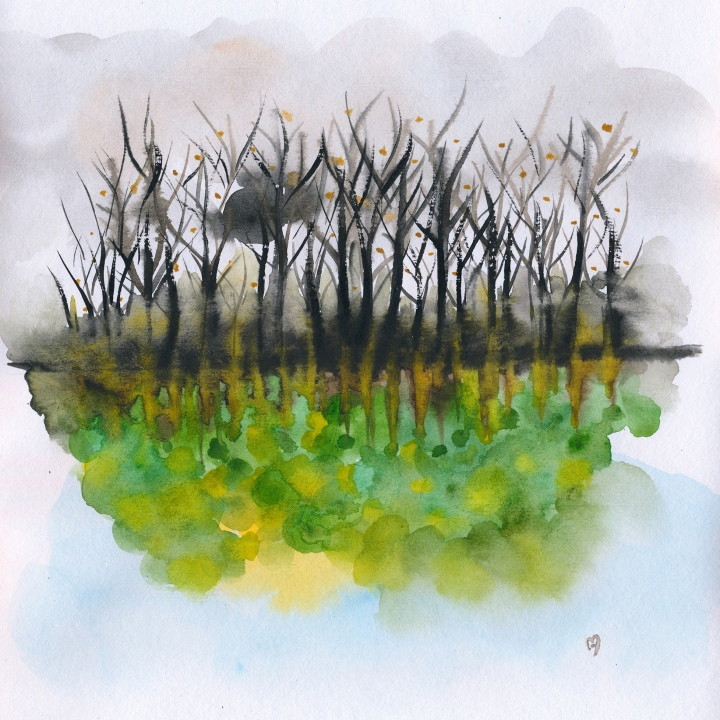 As Above So Below No21 - watercolour painting by Marina Kanavaki from solo Art Show at Art.Estate Gallery 2019